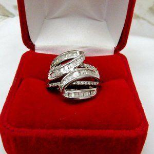 Baguette Diamond Bypass Ring Size 7